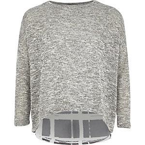 Girls grey check cut sew hybrid top
