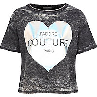 Girls grey burnout metallic j'adore t-shirt