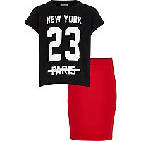 Girls black glitter NY t-shirt and skirt set