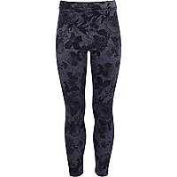 Girls dark blue floral denim look leggings