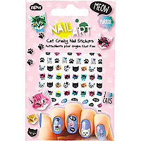 Girls pink crazy cat nail art stickers