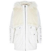 Girls cream embellished luxe parka coat