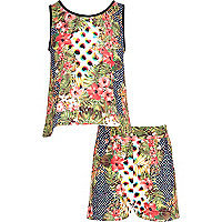 Girls green animal tropical print set