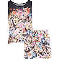 Girls pink floral zebra print set