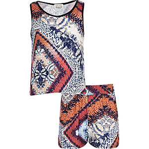 Girls blue tribal animal print outfit
