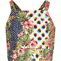 Girls green animal tropical print crop vest
