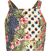 Girls green animal tropical print crop vest