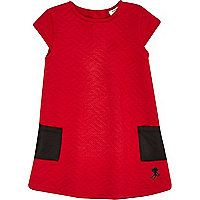 Mini girls red quilted shift dress