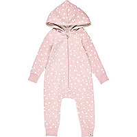 Mini girls pink marl star all in one