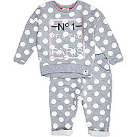 Mini girls grey spot jogger set