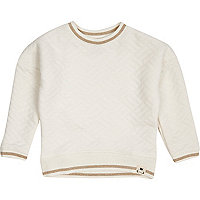Mini girls cream quilted sweatshirt