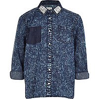 Girls blue acid wash shirt