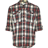 Girls cream tartan check shirt
