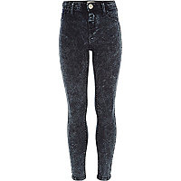 Girls dark blue acid wash jeggings