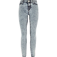 Girls light blue acid wash jeggings