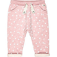 Mini girls pink star print joggers