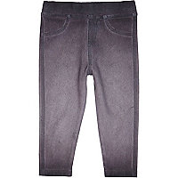 Mini girls grey denim look leggings