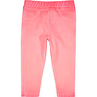 Mini girls fluro pink denim look leggings