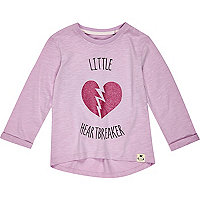 Mini girls purple heart breaker t-shirt