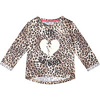 Mini girls leopard print heartbreaker t-shirt