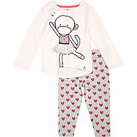 Mini girls pink monkey tee and leggings set
