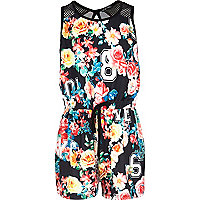 Girls black floral print playsuit