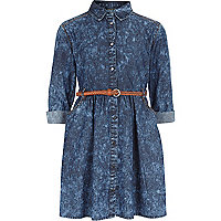 Girls blue acid wash dress