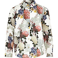 Girls cream floral shirt