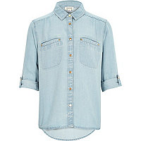 Girls light wash denim shirt