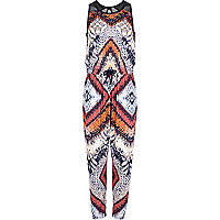 Girls black tribal print jumpsuit