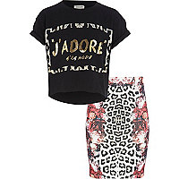 Girls black t-shirt and tube skirt set