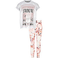 Girls grey Paris t-shirt and leggings set