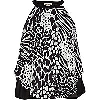 Girls black zebra print cami top