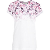 Girls pink floral fade out print t-shirt