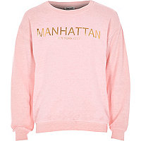 Girls pink burnout Manhattan sweatshirt