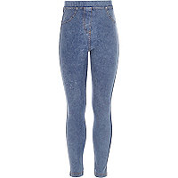 Girls blue medium denim look leggings