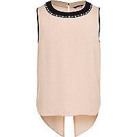 Girls pink embellished split back top