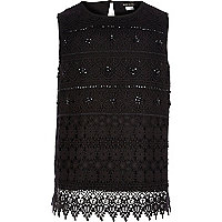 Girls black crochet embellished top