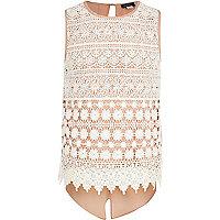 Girls cream crochet split back top