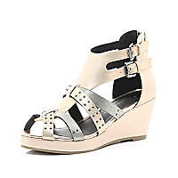 Girls rose gold strappy wedges