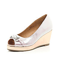 Girls pink metallic peep toe wedge sandals