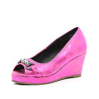 Girls bright pink peep toe wedge sandals