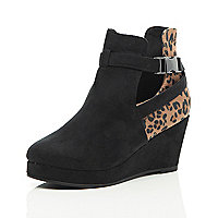 Girls black animal print cut out boots