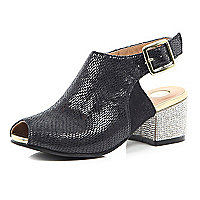 Girls black bling block heel sandal