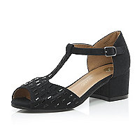 Girls black peep toe party sandals