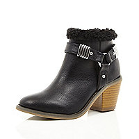 Girls black borg lined boots