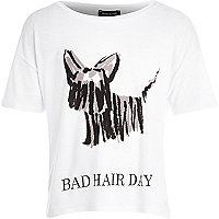 Girls white bad hair day print t-shirt