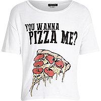 Girls white you wanna pizza me t-shirt