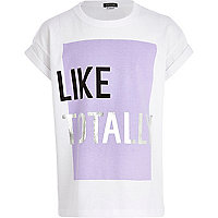 Girls white like totally t-shirt