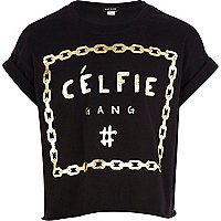 Girls black celfie gang t-shirt